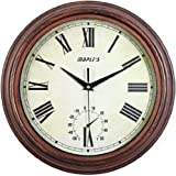 Maple's 12-Inch Outdoor/Indoor Wall Clock, Aged Dial with Roman Numerals