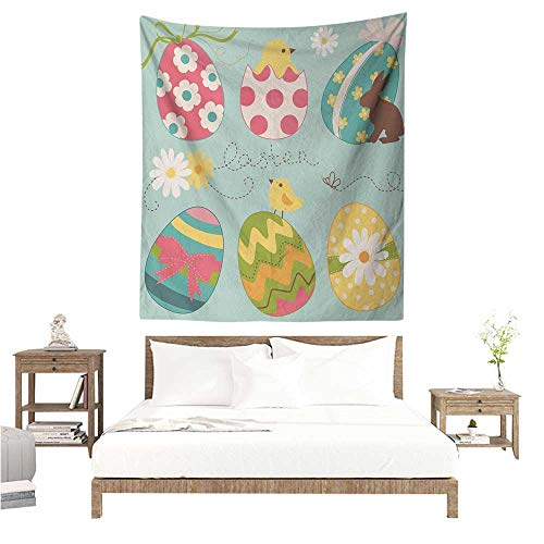 Easter Tapestry Hippie Easter Eggs with Flowers Zigzags Lines and Polka Dots Pattern Colorful Arrangement Tapestry for Home Decor 51W x 60L INCH ()