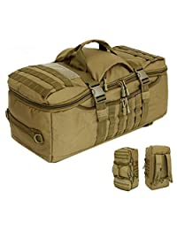 "Crazy Ants 24"" Tactical Molle Backpack Hiking Camping Multifunction Outdoor Shoulder Tote Duffel Range Bag ,Tan"