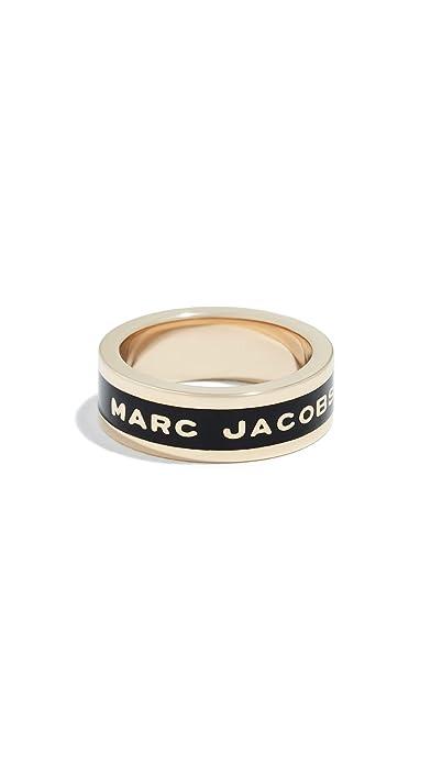 Amazon com: Marc Jacobs Women's Logo Band Ring, Black/Oro, 6