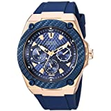 GUESS Men's Stainless Steel Silicone Watch, Color: Blue/Rose Gold-Tone (Model: U1049G2)