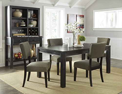 Gavellestong Vintage Casual Black Rectangular Dining Room Table w/ 4 Green Side Chair