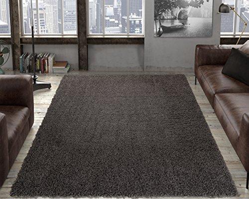 (Ottomanson Soft Cozy Dark Grey Shag Rug Contemporary Living Bedroom Soft Shaggy Area Rug (7'10