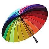 Rainbow Long Handle Umbrella Outdoor Wind-resistant Dualbrella (Size : 24K-105cm)