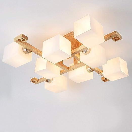 Creativa luz de techo de madera maciza, sala de estar dormitorio Pasillo Escalera Armario Salón Decoración, tatami japonés IKEA nuevas lámparas chinas Araña de combinación cuadrada: Amazon.es: Hogar