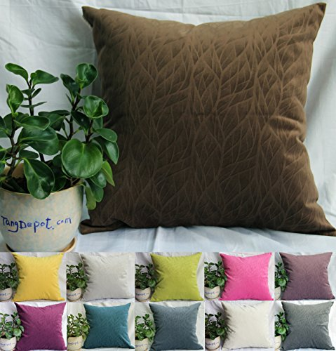 Washable Polyester Cover (TangDepot Solid Velvet Decorative Pillow Covers/Euro Pillow shams, Super Soft Velour, Micro embossed Leaf texture and shape, 10 sizes & 11 colors options, Blue, Blue Black, Charcoal Black, Coffee, Hot Pink, Light Green, Light Purples, Silver Gray, White, Wine, Yellow, 12