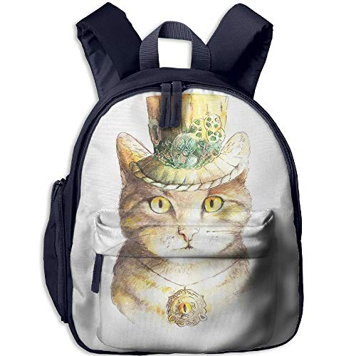 Haixia Teen's Boys&Girls Backpack with Pocket Cat Lover Decor Spiritual Cat with Hat and Occult Eye Collar Grunge Celtic Trick Theme Yellow Grey