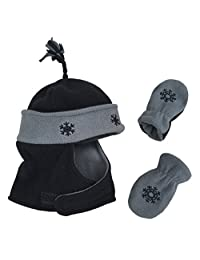N'Ice Caps Boys Wrap Around Hat and Mitten Set with Embroidery