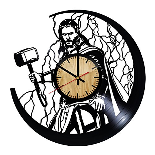 ForLovedGifts Thor The Avengers Design Vinyl Wall Clock - Handmade Gift for Any Occasion - Unique Birthday, Wedding, Anniversary, Wall décor Ideas for Any Space