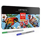 ARTEZA Fineliners Fine Point Pens, Set of 102 Fine Tip Markers with 0.4mm Tips & Sure Grip Ergonomic Barrels, Brilliant Assorted Colors for Coloring, Drawing & Detailing + Sturdy Metal Storage