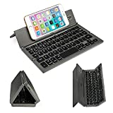 BATTOP Upgrade Foldable Bluetooth Keyboard With Kickstand Universal for IOS Android Windows (Gray and Black)