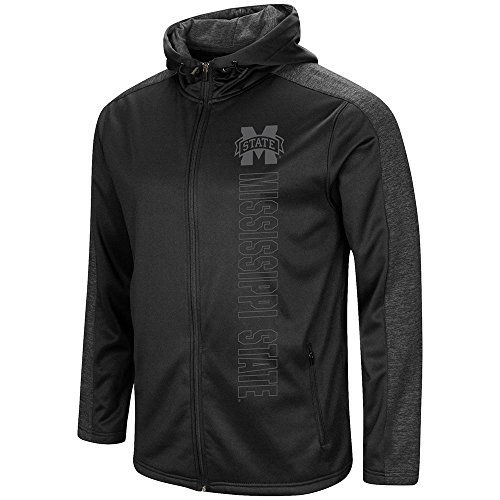 Colosseum Mens Mississippi State Bulldogs Blackout Full Zip Hoodie - 2XL
