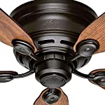 Hunter Indoor Low Profile IV Ceiling Fan, with pull chain control -  42 inch, New Bronze, 51061 9 Whisper Wind motor delivers ultra powerful air movement with whisper quiet performance so you get the cooling power you want without the noise you don't Reversible motor allows you to change the direction of your fan from downdraft mode during the summer to updraft mode during the winter 5 Weathered Oak / Wine Country Reversible blades included