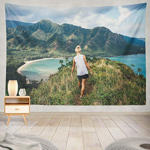 KJONG Ocean Classic Hawaiian Hawaii Adventure Travel Vacation Girl Woman People Summer Waterfall Beach Tropicaldecorative Tapestry,60X60 Inches Wall Hanging Tapestry for Bedroom Living Room