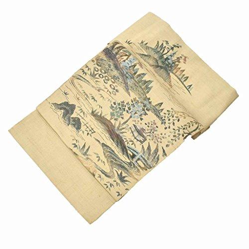 記述する船乗り純正リサイクル 名古屋帯 中古 正絹 八寸 なごやおび 風景文様 茶系 ll1061c