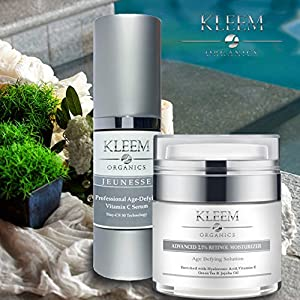 Organic Anti Aging Skin Care Set for Men & Women - Vitamin C Serum & Retinol Moisturizer - This Will Be Your Best Daily Skin Care Routine