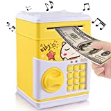 Yoego New Kids Cartoon Electronic Money Bank, Security Piggy Bank Mini ATM Password Coins Money Savings Box Toys Smart Voice & Music Prompt,Code Lock for Children/Toy Gifts Birthday Gift (Yellow cat)