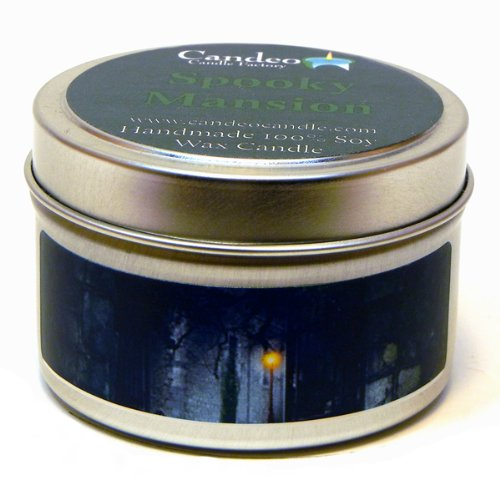 Spooky Mansion 4oz, Super Scented Soy Candle Tin, Halloween Candle