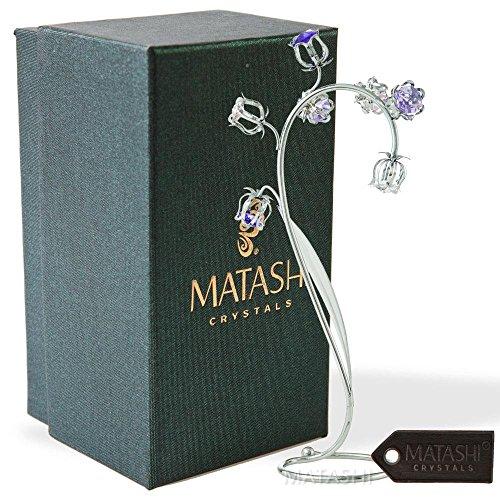 Elegant Arrangement - Matashi Crystal Flower Tabletop Ornament Floral Arrangement | Elegant Home or Office Décor | Intricate Stem and Petal Details | (Silver, Pink & Purple Crystals)