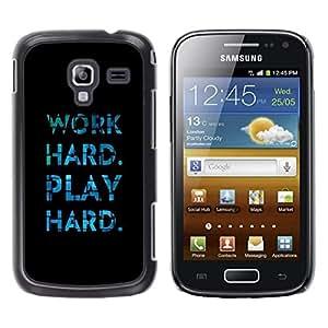 Be Good Phone Accessory // Dura Cáscara cubierta Protectora Caso Carcasa Funda de Protección para Samsung Galaxy Ace 2 I8160 Ace II X S7560M // Play Hard Work Black Blue Tiles Inspir