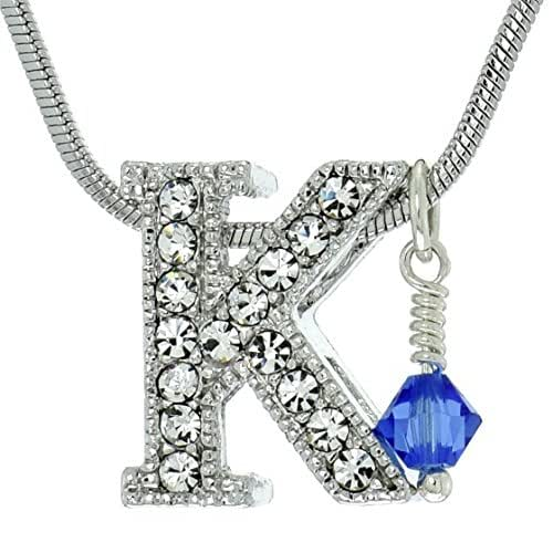 Sparkling Crystal Block Ring Chandelier: Amazon.com: Personalized K Initial Letter Necklace