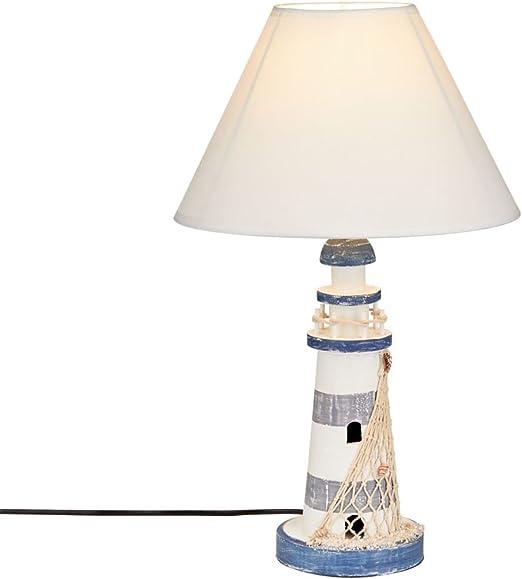 lampara de mesa amazon madera y azul