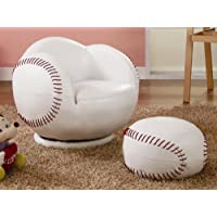Baseball Small Chair and Ottoman Set