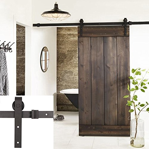 Esright 8FT Brown Basic Wood Barn Door Steel Antique Style Sliding Hardware Track Set Coffee - Antique Wood Doors