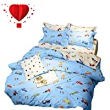 BuLuTu Cartoon Sports Cars Print Boys Duvet Cover Queen Cotton Blue Darker White,Red Yellow Green Trucks Transport Vehicles Reversible Kids Bedding Sets Full Teen Comforter Cover,No Comforter