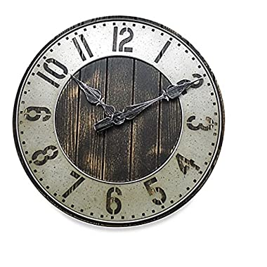 Industrial Rustic Wall Clock - Oversized 20 Inch - Punched Metal - A Great Addition To Your Home Decor