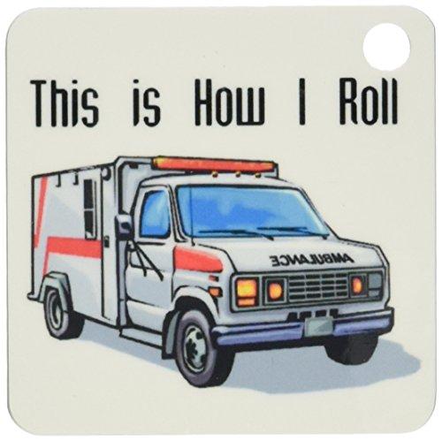 3dRose This How I Roll Ambulance EMT Design Key Chains, Set of 2 ()