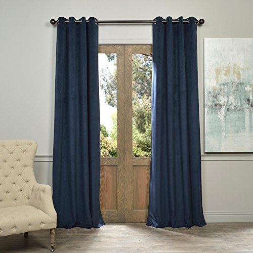Half Price Drapes VPCH-194023-108-GRBO Signature Grommet Blackout Velvet Curtain, Midnight Blue, 50 X 108