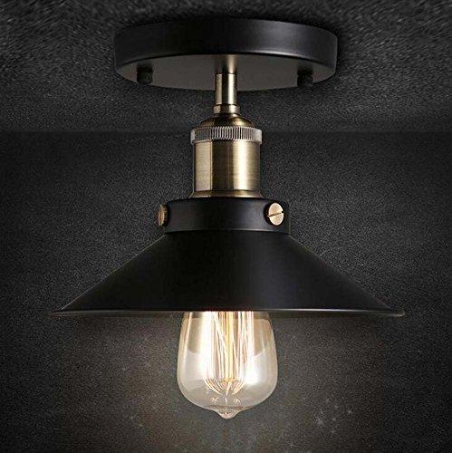 GJX Vintage Pendant Ceiling Light Fitting Kit Flex Lamp Ceiling Loft Lamp Black Metal E27 220V Hanging Retro Chandelier Bulb Base 3 Core Braided Cable(Bulb Not Include) (Size : 36cm) by GJX