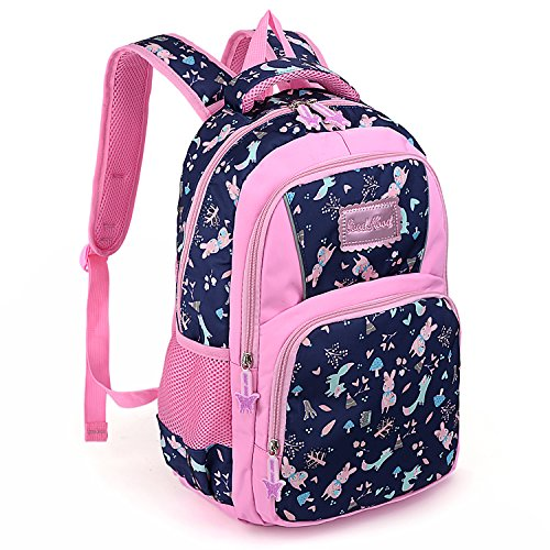 UTO Backpack Nylon Child Teenager Lightweight Rucksack Cute Cartoon Primary Junior School Bookbag Navy Blue
