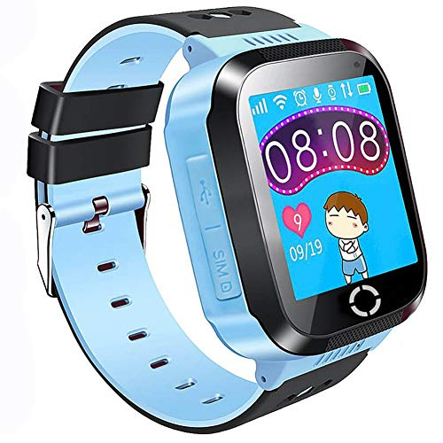 "Cheap Themoemoe Kids GPS Smartwatch Phone, 1.44"" Touch Screen Smart Watch Bracelet for Children Girls Boys with Camera Pedometer Anti-Lost SOS Compatible for iPhone Android (Blue)"
