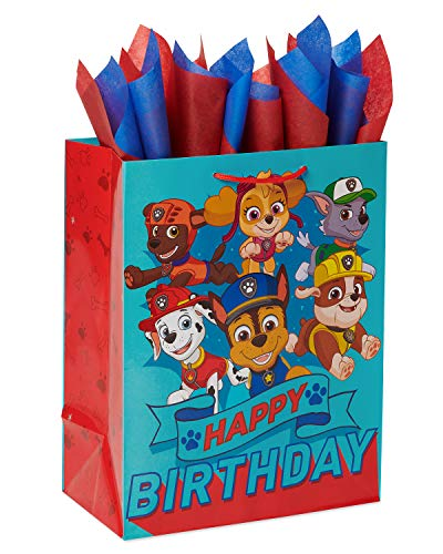 American Greetings Large Paw Patrol Birthday Gift Bag with Tissue Paper; 1 Gift bag and 8 Sheets of Tissue Paper
