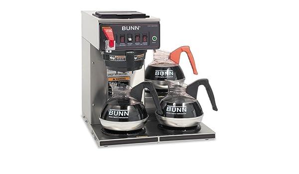 Bunn - desde el punto de vista comercial nominal automático Brewer, 12-cups, 3-burners, acero inoxidable cwtf15 - 3LP (DMI EA: Amazon.es: Oficina y ...