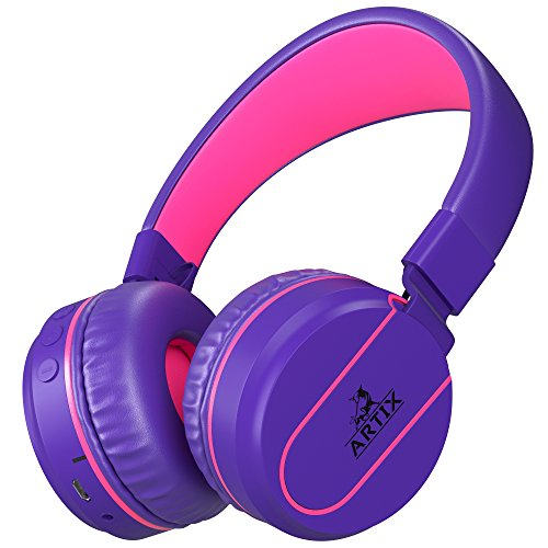 Artix Bluetooth Wireless Headphones, Lightweight & Foldable On Ear Earphones NRGSound RS7, for Work, Travel, Sport, Running, 3.5mm Cable Included for Wired Use Great for Kids/Teens/Adults (Purple)