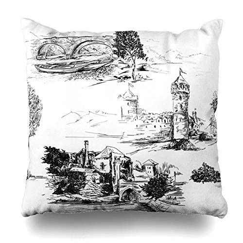 Ahawoso Throw Pillow Cover Jouy Pattern Castles Black White Abstract Toile Ruins Sketch Drawn Hand Bridge Zippered Pillowcase Square Size 20 x 20 Inches Home Decor Cushion Case