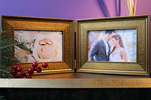 Open Hearts Antique Metallic Art Photo Pic Wood Double Hinged Moulding Frame Gold Ebony Silver Engagement One of a Kind Exclusive Deco Gift ()