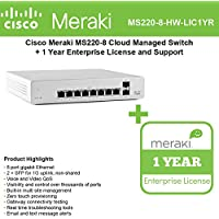 Meraki Cloud Managed MS220 Series 8 Port Gigabit Switch Bundle - 8x 1GbE Ports - Includes 1 Year Enterprise License MS220-8-BDL
