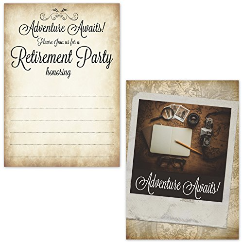 Retirement Party Invitations with Envelopes for Men - Adventure Awaits Fill in the Blank Invites - (20 Count with Envelopes) (Party Invitation Retirement)