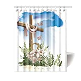 Catholic Christian Religious Church Gifts Cross Waterproof Bathroom decor Fabric Shower Curtain Polyester 60 x 72 inches