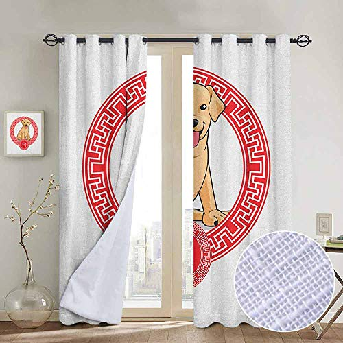 NUOMANAN backout Curtains for Bedroom Year of The Dog,Chinese Zodiac Animal Traditional Geometric Shapes Lunar Year, Pale Brown and Vermilion,Pocket Thermal Insulated Tie Up Curtain 84
