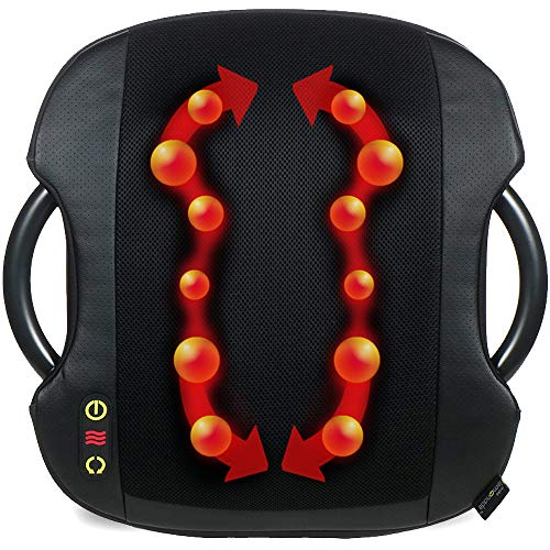 Shiatsu Massage Cushion with Heat | Lumbar Support Back Massage | Portable Handles for Home or Office | Black ()