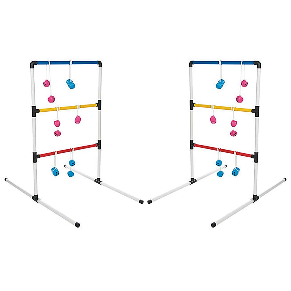 The Dreidel Company Ladder Ball Game Toss Outdoor Lawn Game Set of 2 Plastic Summer Fun - 38'' x 22 1/4'' Inches, Red, Blue, and Yellow