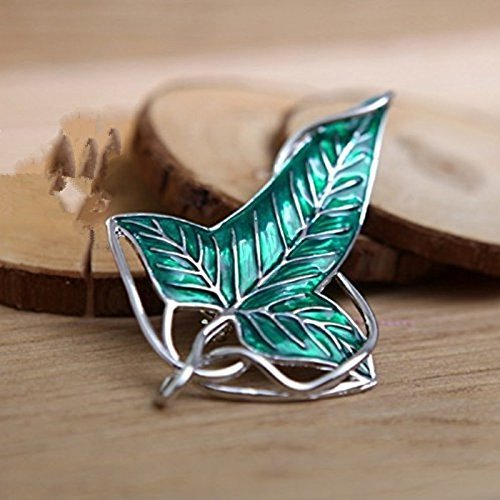 - Lord of the Rings Elven Leaf Brooch Green Leaf Clasp Pin Silver + Enamel