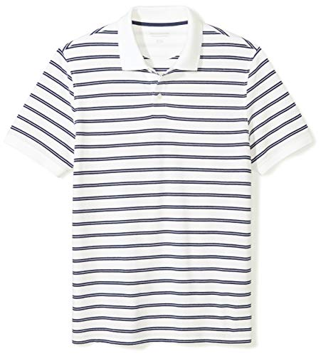 Amazon Essentials Men's Slim-Fit Striped Cotton Pique Polo Shirt, White/Navy Stripe, XX-Large