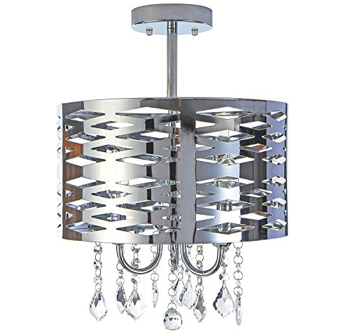 Delica Home 13'' 3 Light Semi Flush Mount Chrome Chandelier, Drum Chandelier with Shining Crystal Beads, Chrome Finish