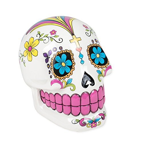 Day of the Dead Sugar Skull Floral White 4 x 4 Inch Glazed Ceramic Coin Bank (Coin Lotus)